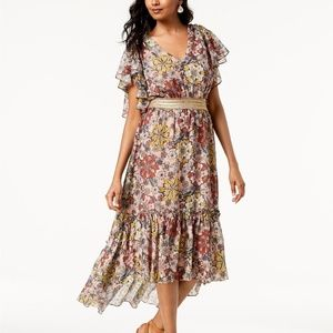 Taylor Floral Flowy Ruffle Smock Belted Dress Sz 4